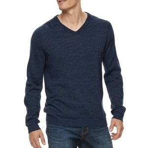 Apt 9 Men's Slim Fit Dark Blue Wool V Neck XL